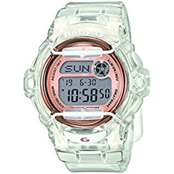 BABY-G Women's Quartz Watch with Grey Dial Digital Display and White Resin Strap BG-169G-7BER