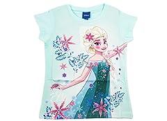 Idea Regalo - ARNETTA 45288 Maglietta t-Shirt Frozen Anna Elsa (6 Anni, Celeste)