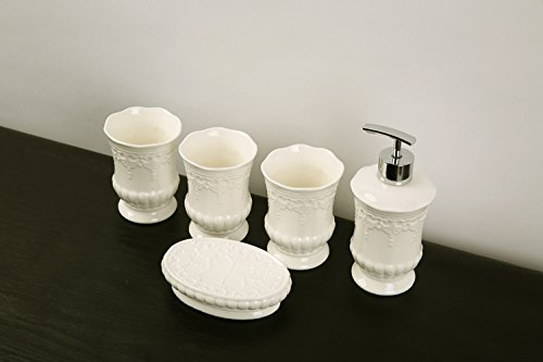 Europei di ceramiche sanitarie in cinque pezzi bagno con denti set di lavaggio mug bone (Bone China Crema)