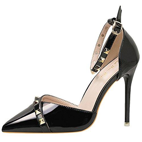 Oasap Women's Pointed Toe Rivet Buckle Strap Pumps Black