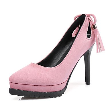 Talloni delle donne Primavera Estate Autunno Club Scarpe Suede ufficio & carriera di feste ed abito da sera tacco a spillo nappa nero grigio rosa Walking Pink