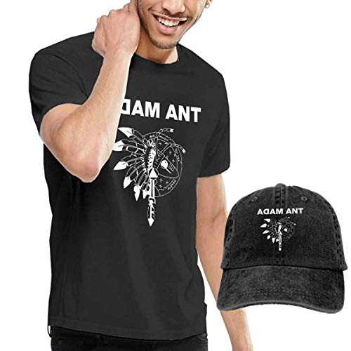 Herren Kurzarmshirt Mens Cool Adam and The Ants Logo T Shirts and Washed Denim Hat Casquette Black Adams Hat