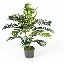 artplants Künstliche Areca-Palme JENNICA im Zementtopf, 17 Palmwedel, 90 cm - Kunstpalme/Dekopalme