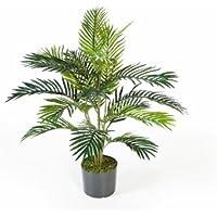 Palmera Areca artificial en maceta de cemento, 17 frondas, 90 cm - Palma artificial / Palmera decorativa - artplants
