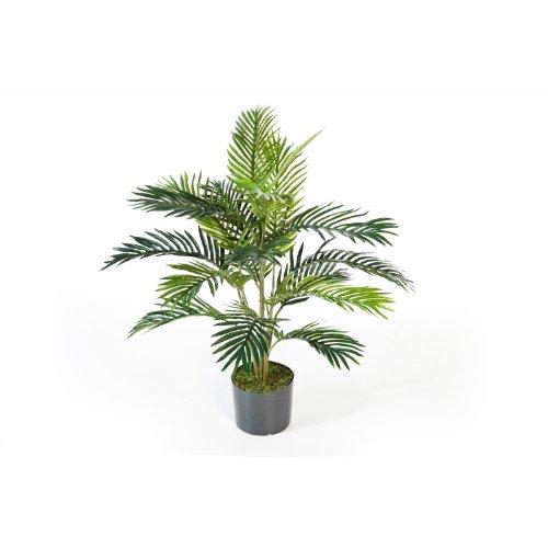 artplants Künstliche Areca-Palme JENNICA im Zementtopf, 17 Palmwedel, 90 cm – Kunstpalme/Dekopalme