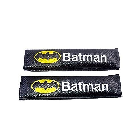 Shuanghong 2pcs New Batman Carbon Fiber Embroidery Car Seat Belt Cushion Shoulder Pad Cover by Shuanghong