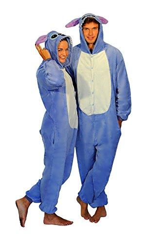 Unisex Rosa Blau Stitch Blue Pink Stitch Onesie Kigurumi Pyjama Karneval Kostüm Maskenkostüm Kapuzenpulli Schlafanzüge Blau Stitch, M(Height 160cm-170cm) (Kostüme Stich)