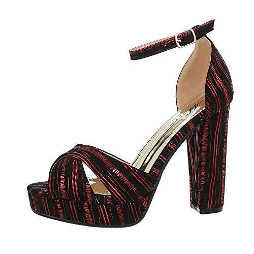 Ital-Design Damenschuhe Sandalen & Sandaletten High Heel Sandaletten Synthetik Rot Schwarz Gr. - Kostüm Sandale