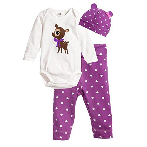 Netten Neugeborenen Jungen langarm Spielanzug Overall Outfits Baby Mädchen Dreiteiligen Anzug Hirsch - Deer, 95cm - Net Hirsch