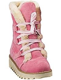 ca9cf08f54ab JEELINBORE Damen Winterstiefel Stiefeletten Schlupfstiefel Warm Gefüttert  Halbschaft Stiefel Flach Outdoor Kunstpelz Schneeschuhe