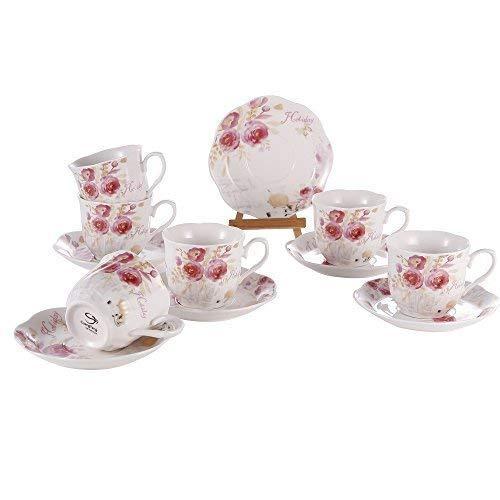 Juegos Tazas de Café Porcelana Vintage - 7OZ/220ML Conjuntos de Taza y Platillo Inglesa Patrón de Rosa Flores Set de 6 Tazas de Té/Cappuccino