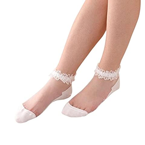 Boat Socks, Transer® Women Ultrathin Transparent Socks with Low Cut Girls Elastic Silk Short Socks with Lace Trims (White)