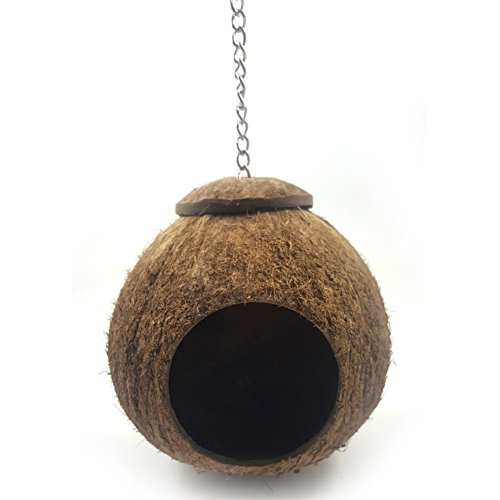 EMVANV Vogelnest, natürliches Kokosnuss-Muschel, Haustier-Spielzeug Natürliche Vogelhäuser, Nist-Vogelhaus für Käfig oder draußen - Papageien, Wellensittiche, Sittiche, Spatz