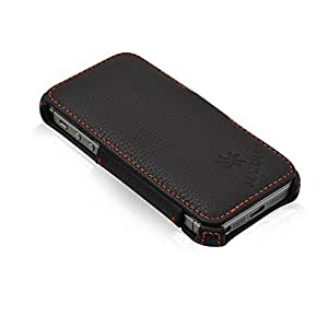 MANNA iPhone 5 iPhone 5S iPhone SE Case Leather Case Book Folio Cover Wallet Cover | High-Quality Genuine Leather | Black