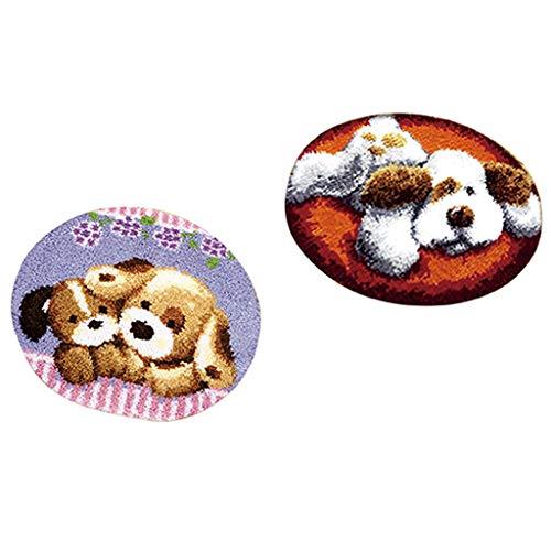 IPOTCH 2 Satz Knüpfteppich Formteppich für DIY Handarbeit Teppich mit schöne Tier Hunde Bilder, Latch Hook Kit -