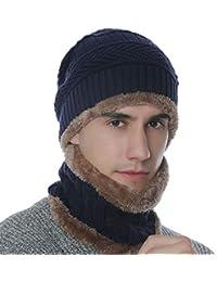 Tom Franks Men/'s Knitted Warm Winter Bobble Beanie Hat /& Scarf Snood Set