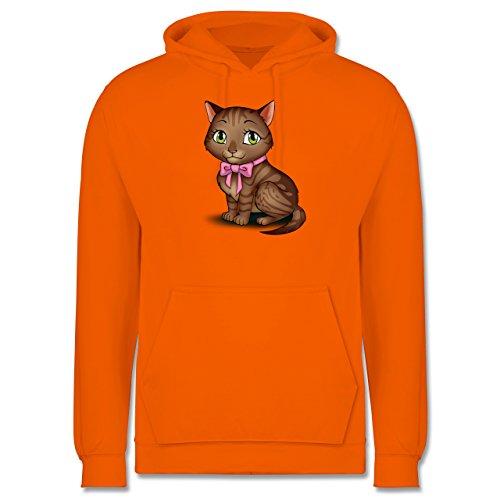 Katzen - Kätzchen mit Schleife - Männer Premium Kapuzenpullover / Hoodie Orange