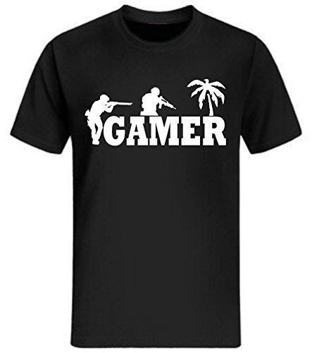 Gamer T-Shirt Lustig fun Shirt Zocker Shooter Sniper Retro 90's Soldat WASD neu Schwarz