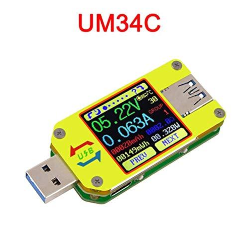PIANAI UM34C USB Tester Meter Voltmeter USB Multimeter Spannung Strom USB Spannungsprüfer Bluetooth-Amperemeter-Multimeter USB 3.0 Typ - C Kabelwiderstand Impedanz Meter Laden