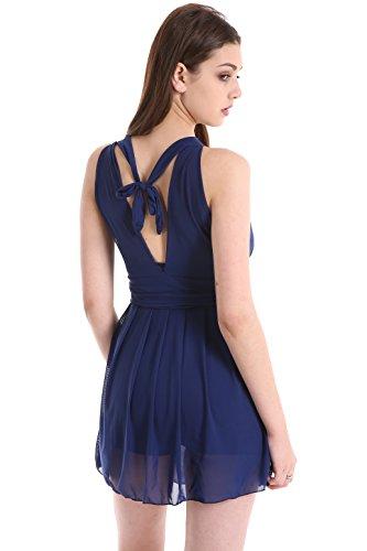 Eleganter Einteiliger Damen Badeanzug mit Röckchen Bandeau Badekleid mit Push Up Effekt Schwimmanzug mit flachem Bauch Dunkelblau-1