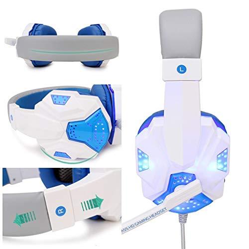 USB Filaire LED 3.5mm Casque de Jeu rougeoyant avec Micro, Casque Gaming Bien Anti-Bruit, Casque Gamer Confortable Compatible pour PS4/PC/Laptop/Tablette/Smartphone (Blanc)