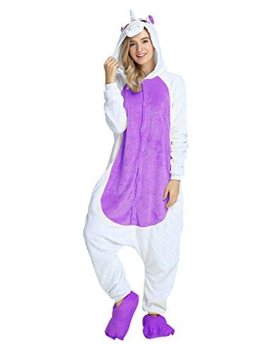 Einhorn Kostüm Karton Tierkostüme Halloween Kostüme Jumpsuit Erwachsene Schlafanzug Unisex Cosplay- Gr, XL(Höhe175-182CM), Einhorn Lila (Die Besten Halloween Kostüme Für Damen)