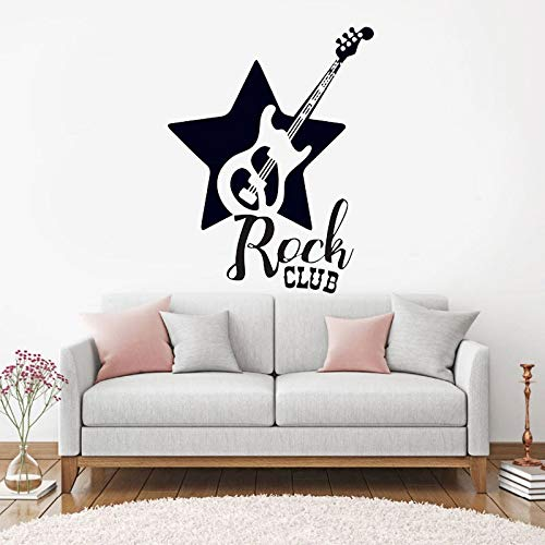 Njuxcnhg Gitarre Moderne Mode Dekoration Rock Club Vinyl Wandaufkleber Musiker Musik wasserdichte Tapete Wohnkultur 42X54 cm