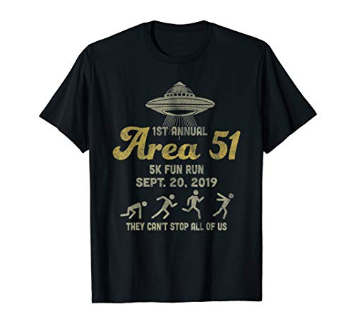 1st Annual Area 51 5k Fun Run Sept 20 Lustige T-Shirt - Run Fun Shirt