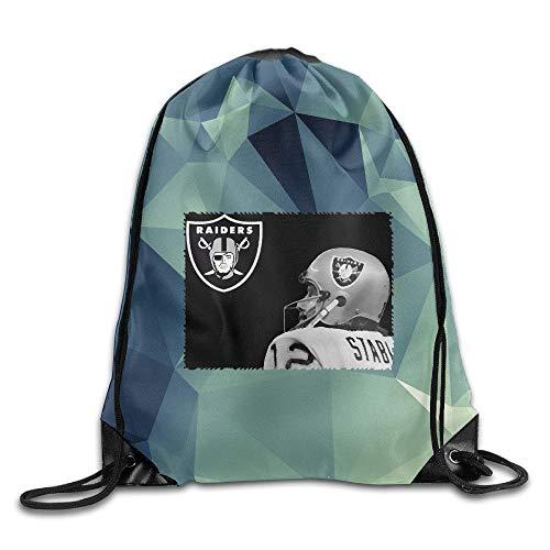 KAKALINQ Creative Design Okland Raiders Ken Stabler Drawstring Backpack Sport Bag for Men and Women