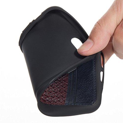 Pour iPhone 7/7G (4,7 zoll) Case Cover, Ecoway TPU Conception de texture tissée Housse en silicone Housse de protection Housse pour téléphone portable pour iPhone 7/7G (4,7 zoll) - Rose or + rose Noir + Marron