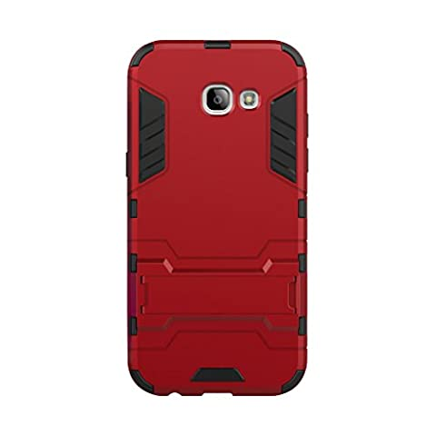 Etui Samsung Galaxy A5(2017) - 3 Couche Holster Combo Antichoc [Protection Goutte] Soutien Hard Cover Case pour Samsung Galaxy A5(2017) - Rouge