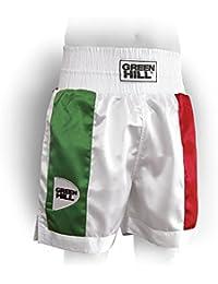 GREEN HILL Pantaloncini Pugilato Piper Boxe Pugile Professionista E  DILETTANTE (Bianco con Tricolore 405ff65e9d96
