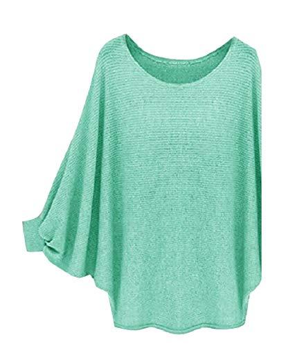 CuteRose Women's Solid Color Warm Scoopneck Bat Sleeve Fall Winter Sweater Green S (Green Pullover Crewneck Wool)