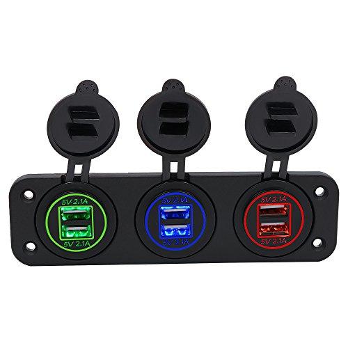 TopTen Fan-Motive LED Beleuchtung Dual USB Slot Buchse Laden 2,1A & 2.1A Kippschalter Panel Toggle für Auto Boot Marine Wohnmobil-Truck Camper Fahrzeuge - Dual Slot Fan