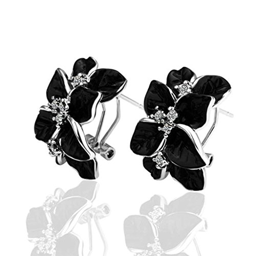amdxd-jewelry-white-gold-plated-womens-earrings-flower-black-oil-drip-swa-elements