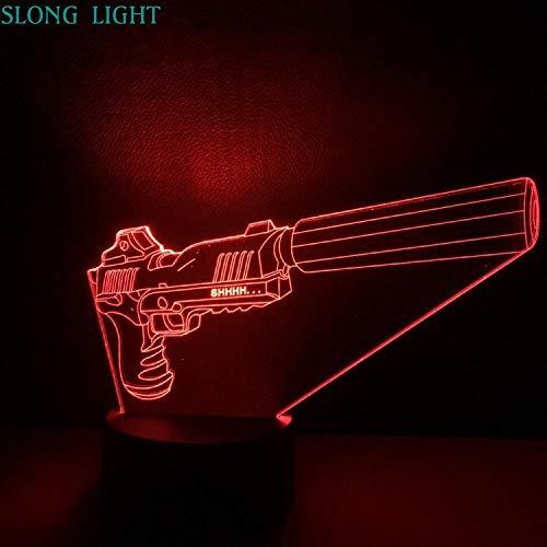 Zcmzcm 3D Nachtlichter Pistole Nachtlicht Led 3D Illusion Usb Touch Sensor Rgb Deko Licht Kind Kinder Jungen Geschenk Waffe Tischlampe Schreibtisch Gadget