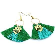 c095ff552fba3 Les Bijoux Acidulés - Boucles d oreilles Pompon Vert Tropique et Feuille  dorée - Bijoux