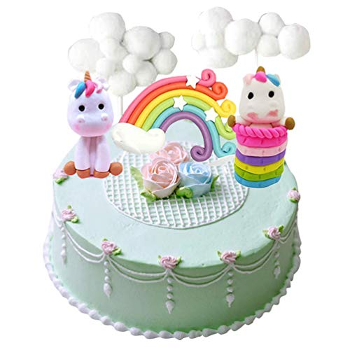 Cloud rainbow + unicorn cake toppers kit decorazione torta per bambini ragazze compleanno baby shower party set di 5