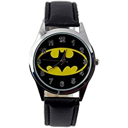 TAPORT® THE DARK KNIGHT BATMAN Quartz ROUND Watch Black Real Leather Band +FREE SPARE BATTERY+FREE GIFT BAG