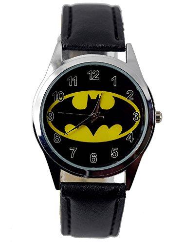 Taport® Armbanduhr The Dark Knight Batman Quarz, runde Uhr, schwarzer Uhrenarmband aus Echtleder, mit Ersatzbatterie und Geschenktasche