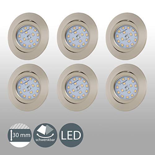 LED Einbaustrahler ultra Flach Inkl. 6 x 5W 400lm LED Modul IP23 schwenkbare Einbauleuchten Warmweiss Matt Nickel