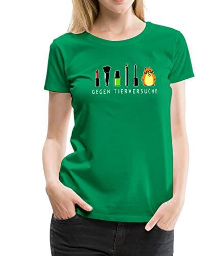 Spreadshirt Hamster Gegen Tierversuche Geschminkt Frauen Premium T-Shirt, L (40), Kelly Green