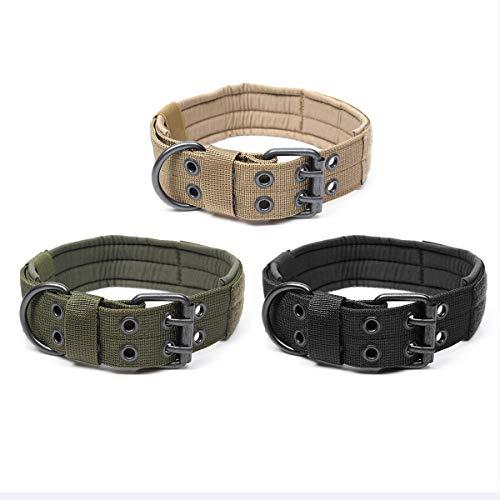 GIlH Einstellbare Trainingshundehalsband Nylon Tactical Hundehalsband Militär mit Metall D-Ring-Schnalle -