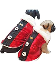 Kitty and The Woof Gang Red Disco Lycra with a Black Strip with White Buttons and a Soft and Warm White Lining   Super Soft White Faux Fur Collar Winter wear for You Loved Dog or Cat