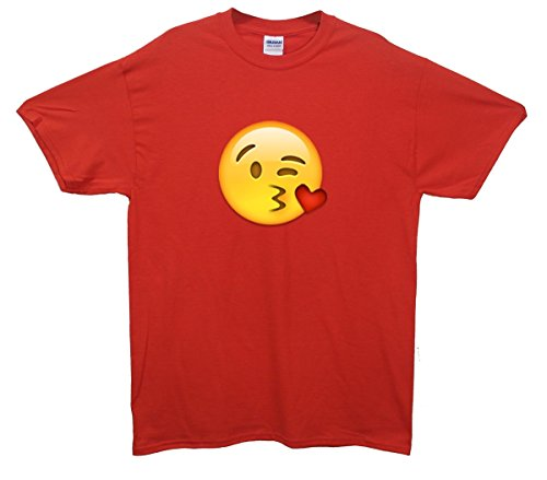 Kissing Face Emoji T-Shirt Rot