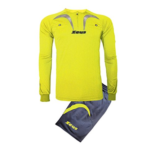 Zeus Herren Fußball-Schiedsrichter Trikot Shirt Hosen Klein Armel Kit Fußball Hallenfußball KIT ARBITRO PRO GELB FLUO-GRAU (XL) (Hose Pro Schiedsrichter)