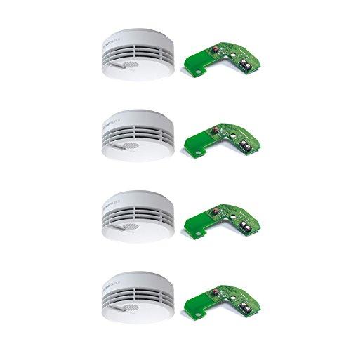 Preisvergleich Produktbild Hekatron Rauchmelder Genius PLUS X – Optional funk-vernetzbarer Feuermelder, inkl. Funkmodul Basis X – 10 Jahre Lebensdauer der Batterie, LED mehrfarbig & App-Unterstützt – Weiß, 4er Set