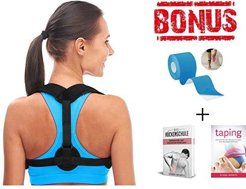 Kinesio Tape Schulter (SYNOX Geradehalter zur Haltungskorrektur inkl. EBOOK und KINESIOTAPE für eine Gesunde Haltung. Rückenhalter, Rückengürtel, Haltungstrainer, Rückentrainer, Rückenstütze, Rückenstabilisator)
