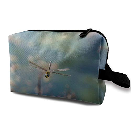 With Wristlet Cosmetic Bags Small Dragonfly Travel Portable Makeup Bag Zipper Wallet Hangbag Glitter Patent Schuhe