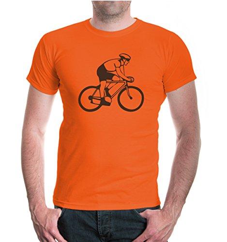 buXsbaum® T-Shirt Radfahrer-Silhouette Orange-Brown